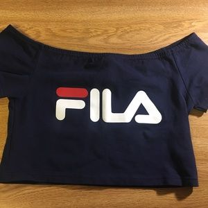 FILA Navy Blue Off-the-Shoulder Crop Top